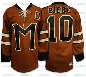 Джон Biebe # 10 Тайна Аляски Фильм Мужчины Хоккей Джерси Рассел Кроу прошитой Brown S-3XL Бесплатная доставка