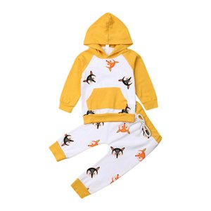 2019 Bebek Giyim Sevimli Bebek Kız Bebek Giyim Fox Kapşonlu Uzun Kollu Pantolon 2PCS Kıyafet Seti Tops