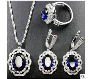 WondRful 2Set / Lots Crystal Blue Diamond Bride Свадебные украшения Lady's Set Ожерелье Серьги Кольцо вверх-Рынок 16.2ч