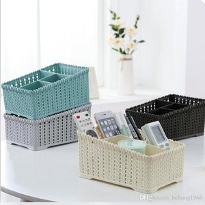 Imitation Rattan Braided Storage Basket Durable Hollowed Out Design Makeup Organizer Household Cosmetic Remote Basket Blue White 4 8xj BB