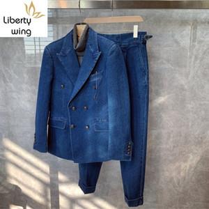 Autumn Winter Men Double Breasted Slim Blazer Zipper Jeans Two Piece Brand Fashion Lapel Denim Suit Jacket Casual Pants Set T200707