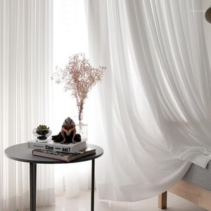 White Tulle Curtains for Living Room Decoration Modern Chiffon Solid Sheer Voile Kitchen Curtain home Decoration1