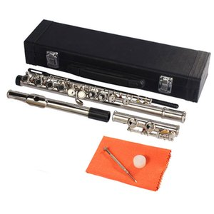 Beginner niquelado 16 buracos C-tom prata Banda Instrumento Musical Flauta estudante com passagem Rod pano de limpeza Lubrificante chave de fenda