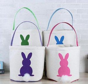 Cestas de Pascua conejo de conejito Pascua Cubo cola cesta Niños Pascua Cubos Impreso bolsa de mano del regalo La bolsa de asas del huevo Caramelos 4 colores AZYQ138