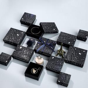 [Einfache Sieben] Wandering Earth Black Schmuckschatulle, Sonnensystem-Ringetui, Aufbewahrungsbox für romantische Weltraum-Halsketten, Radium Hot Silver Pendant Display