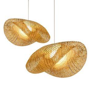 Bamboo vimini Rattan Ombra Pendant Light Fixture asiatico sospensione Lampada da soffitto nuovo per Camera Bar Soggiorno Illuminazione PA0211