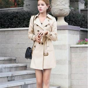 La MaxZa Slim Elegant England Style Womens Trench Abrigos Diseñador coreano Casual Abrigos y chaquetas Mujeres de doble botonadura Tops