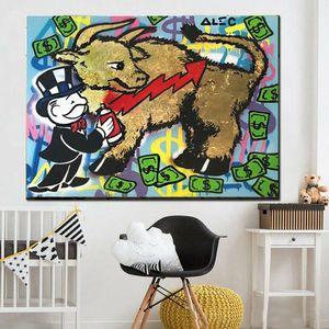 Alec Монополия Gold Bull Home Decor расписанную HD печати Картина маслом на холсте Wall Art Canvas картинки 200525