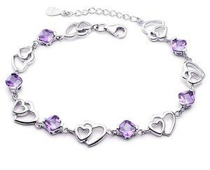 Jóias Double Heart Bracelet Mulheres Amethyst da bracelete folheado Mulheres Silver do temperamento Mulheres Bracelet