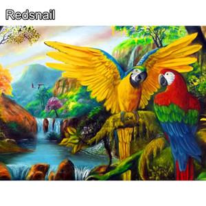 Großhandel Animal Paintings Kristalle Diamant-Malerei SquareRound Parrot-Kreuz-Stich-Diamant-Stickerei Farbe Vögel TT627