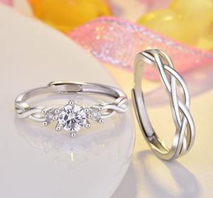 Yeni Elektrolizle alaşım Aşıklar yüzük çift yüzükler Düğün Band Açılış ayarlanabilir boyut Teklif ve evlilik elmas yüzük