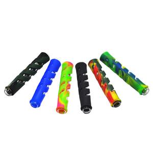 Glas FDA Silikon One Hitter Pfeife Tabak-Kraut-Rohr Schlauch 90mm Zigarettenhalter Tabak og Glas Handrohre Zubehör