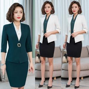 Moda Americana verde para los juegos de falda de las mujeres señoras de la oficina de trabajo de negocios Wear Conjunto media manga sistemas Jacket
