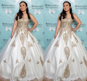 Or broderie dentelle Appliqued robe de bal robes de soirée de bal formelle Sexy 2020 Sweetheart Backless étage longueur tapis rouge robes de Quinceanera