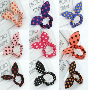 Children women Hair Band Cute Polka Dot Bow Rabbit Ears Headband Girl Ring Scrunchy Kids Ponytail Holder Hair Accessories mixed colors