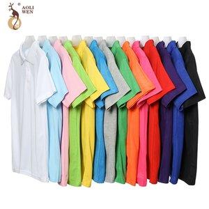 Aoliwen Nueva marca hombres de polo de manga corta de algodón transpirable sudor anti-pilling de negocios sólido ocasional masculino del polo T200528 camisa de alta calidad