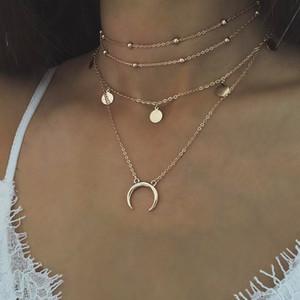2019 sommer strand böhmen mode anhänger frauen mond choker schlüsselbein halskette mehrschichtige wafer halsketten schmuck für große mädchen c6034