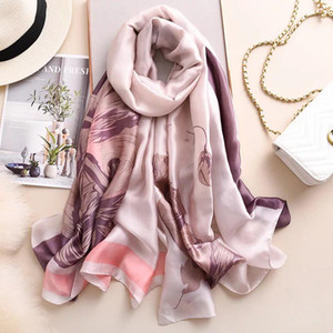 Yulaili 2020 Elegance Yellow Grey Printing Design Summer Silk Scarf Fashion Female Purple Wraps Spring Shawls Wholesales Free Shipping