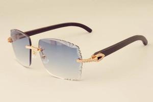 2019 nova fábrica óculos de sol moda de luxo direta diamante 3524014-2 chifres pretos naturais espelhar pernas gravação óculos de lente personalizada privada