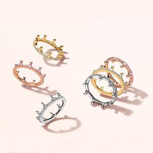 18k subiu ouro amarelo banhado a ouro enchanted crown ring caixa original para pandora 925 prata esterlina cz diamante mulheres anel de casamento set