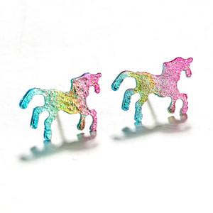 العصرية الملونة بريق المينا يونيكورن أقراط للنساء لطيف الحيوان الحصان أقراط مجوهرات oorbellen هدية brinco feminino
