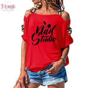 Beauty Salon Nail Art Manicure Pedicure T Shirt Women Loose Cotton Short Sleeve Female T Shirts Fashion Hollow Out Tees