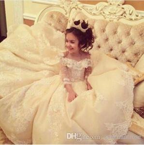 Düğün Partisi için Prenses Dantel Çiçek Kız Elbise Omuz Geniş V Yaka Balo Küçük Kız Yarışması Elbise törenlerinde Kapalı