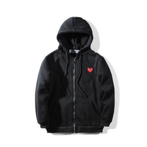 2018 년 브랜드 패션 mens 디자이너 후드 붉은 심장 흰색 commes des 면화 풀오버 garcons 스포츠 용 재킷 재킷 겨울 코트