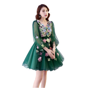 100%real green blue flower petals short lolita dress stage performance cartoon carnival dress cosplay can customs size