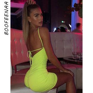 BOOFEENAA Neon Backless Geraffte Verband Bodycon Kleider Sommer 2019 Sexy Frauen Kleidung Party Club Mini Bleistift Kleid C83-AZ26