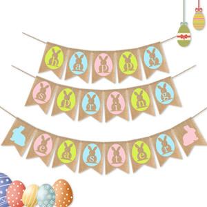 Пасхальный зайчик флаг счастливой весны пасхальный баннер белья Доветки флаги кролика висит флаг сада партии украшения GGA3186-7