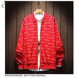 2019 Autum 지퍼 폭탄 재킷 캐주얼 Streetwear 편지 인쇄 자켓 코트 야외 헐렁한 공구