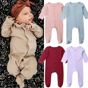 0-6M Yenidoğan Bebek Erkek Bebek Kız Sonbahar Elbise Romper Bebek Erkekler Kızlar Uzun Kollu Jumpsuit Kıyafetler Saf Renk Boy Kız Elbise