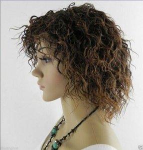 New Lady court bruns bouclés Cosplay Perruques + perruque Cap