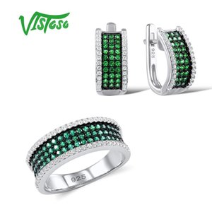 Kadın Yeşil spineller Beyaz cz Taşlar Takı Seti Küpe Yüzük 925 Gümüş Moda İnce ve Vistoso Takı Setleri
