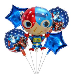 5pcs super héros Spiderman Batman Avengers America Foil ballons Birthday Party Supplies Superman Air Balloon jouets Journée des enfants