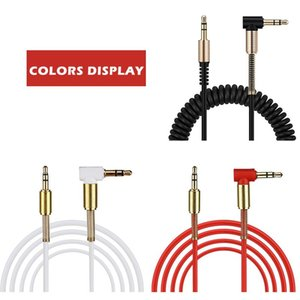 Coiled Stereo Audio Cable 3.5mm Male to Male Universal Aux Cord Auxiliary Cable for Car bluetooth speakers headphones Headset PC