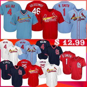 Goldschmidt 4 Yadier Molina Beyzbol Formalar Erkekler 1 Ozzie Smith 25 Dexter Fowler 46 Paul Goldschmidt Jersey Beyzbol