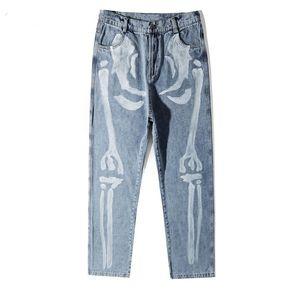 Crânio Bones Imprimir Jeans Hip Hop Casual soltas Denim Pants Streetwear dos homens da forma do moderno Pants Punk Rock Calças masculinas