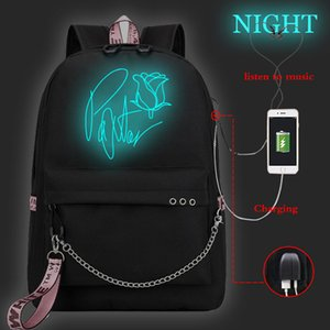 Fashion Luminous Backpack USB School Bag Korean Style Teen Women Leisure Schoolbag Payton Moormeier Mochilas