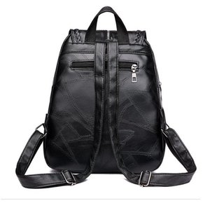 Winter 2020 new ladies pu shoulder bag casual stitching backpack fashion solid color high school schoolbags