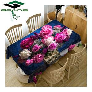 Tovaglia GOANG 3d stampa digitale Rosa peonia modello impermeabile Addensare tovaglia rettangolare e copertura tavolo rotondo