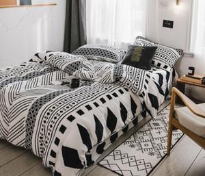 Juego de cama de lana de estilo nórdico, 4 piezas, hojas, conjunto de funda de edredón geométrico con funda de almohada de tamaño completo
