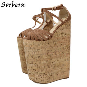 Sorbern Extreme High Heels Sandals Shoes Women Designers Summer Sandals For Women Wedges Platform Customized Large Size 33-46