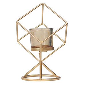 Nordic Style Geometric Candle Holder Stand With Glass Cup