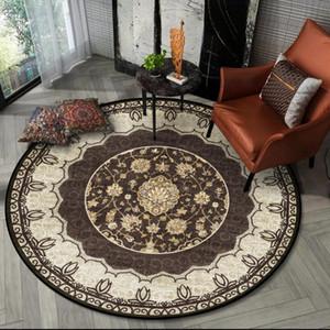 Moda zona blanda alfombra redonda de la alfombra persa retro americana Brown Decoración Alfombras dormitorio y alfombras para el hogar de la sala Mat