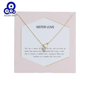 Lucky Eye Heart Pendant Necklace Crystal Necklace Link Chain Wish Card For Women Girl Sister Gift Jewelry EY6018