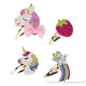 Clips de los bebés unicornio lentejuelas pelo Fresa del arco iris Diseño Niños muchacha del pelo Barrettes niños Boutiques Moda Accesorios para el cabello