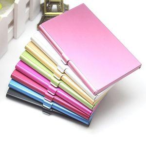 100PCS Business Name Credit ID Card Case Holder Aluminum Business Card Holder Card Files Aluminum Silver Color