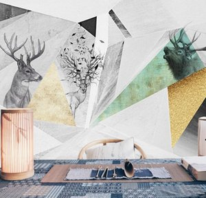 3D custom Wallpapers Nordic geometric pattern elk TV sofa background wall gray minimalist 3d film and television wallpaper mural
